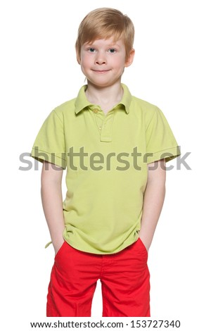 Portrait of a cute fashion boy on the white background