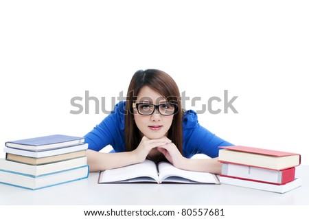 Portrait of a cute female student relaxing with hands on chin,  isolated on white background.