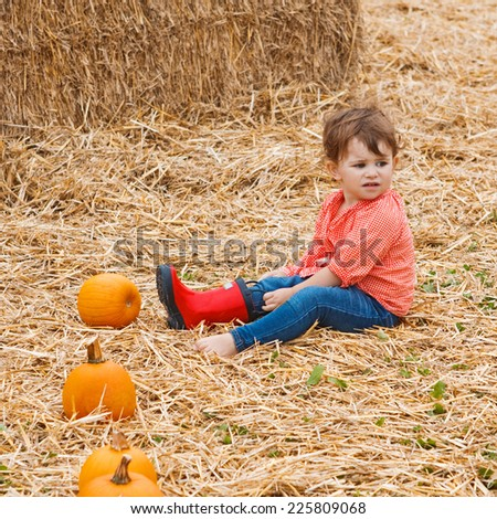 Portrait of a cute funny adorable  Caucasian baby toddler in red shirt and blue jeans sitting on hay on farm with pumpkins and trying to put on her red rain boots. Halloween Thanksgiving card - stock photo