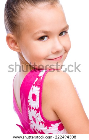 Portrait of a cute girl, isolated over white - stock photo