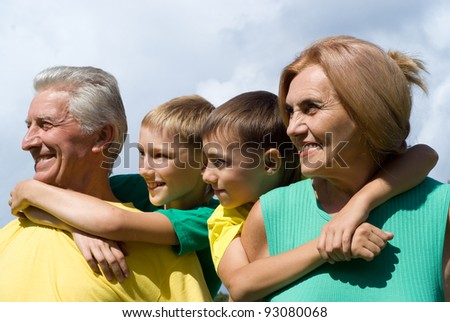 portrait of a cute grandparents and kids
