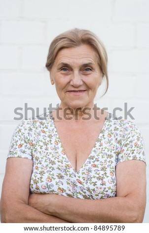 portrait of a cute granny outdoors
