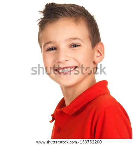 Portrait of a cute happy boy looking at camera with pretty smile. Photo on white background - stock photo