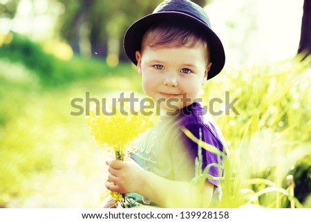 Portrait of a cute kid - stock photo
