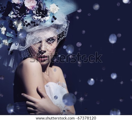 Portrait of a cute lady with diamonds - stock photo