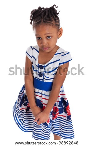 Portrait of a cute little african american girl, isolated on white background - stock photo