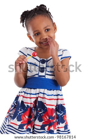 Portrait of a cute little african american girl with a lollipop, isolated on white background - stock photo
