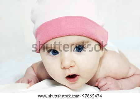 Portrait of a cute little baby - stock photo