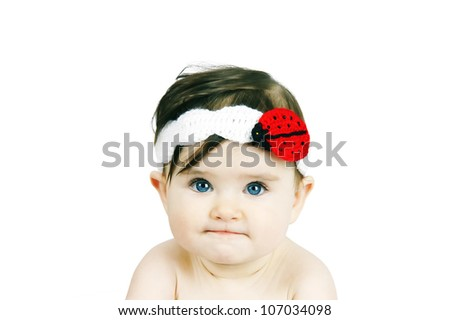 Portrait of a cute little baby on a white background - stock photo