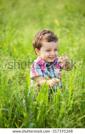Portrait of a cute little boy is walking and laughing on a field