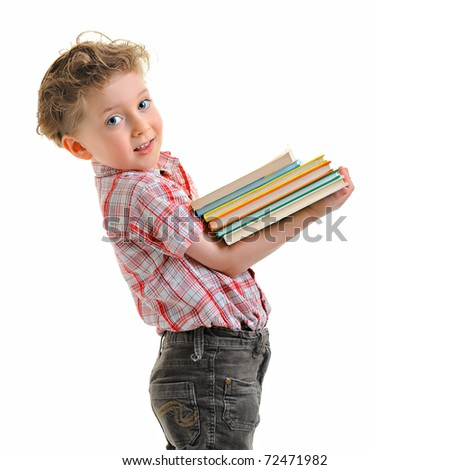 Portrait of a cute little boy with books. Isolated over white background. - stock photo