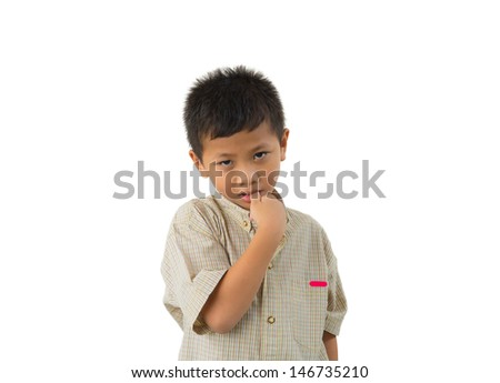 Portrait of a cute little boy with many question on isolated