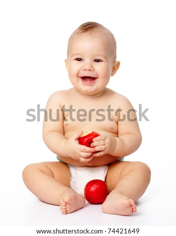 Portrait of a cute little child with two red apples, isolated over white