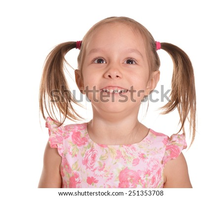 Portrait of a cute little girl in a pink dress - stock photo