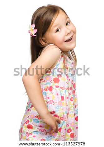 Portrait of a cute little girl, isolated on white