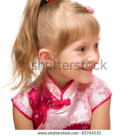 Portrait of a cute little girl, isolated over white
