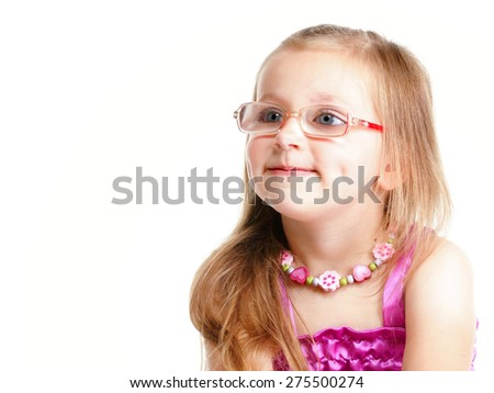 Portrait of a cute little girl smiling studio shot  isolated on white background - stock photo