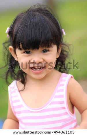 Portrait of a cute little girl with happiness