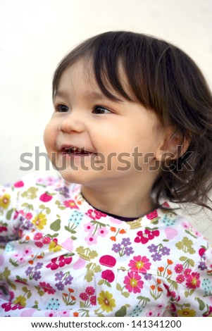 Portrait of a cute little kid - stock photo