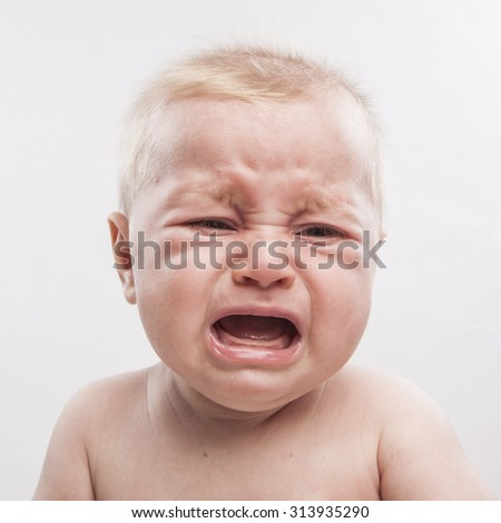 portrait of a cute newborn baby crying - stock photo