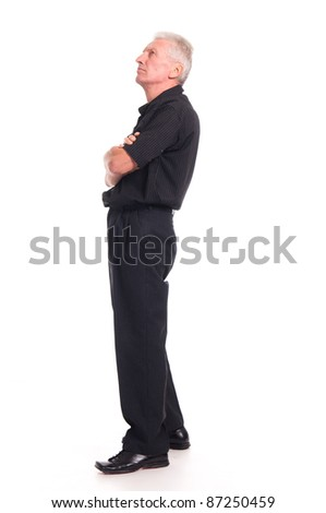 portrait of a cute old man on white - stock photo