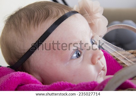 portrait of a cute one month baby girl - stock photo