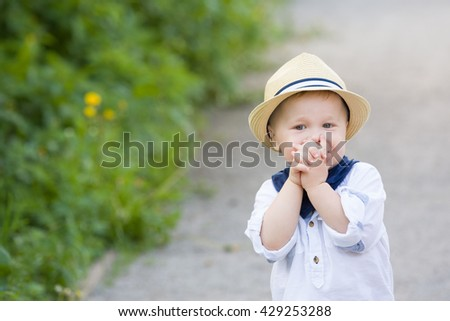 Portrait of a cute toddler boy in straw hat walking in the park on a sunny summer day. Adorable child walking in the park. Outdoors. Childhood and lifestyle concept - stock photo