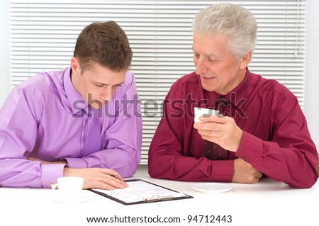 portrait of a cute two business men - stock photo