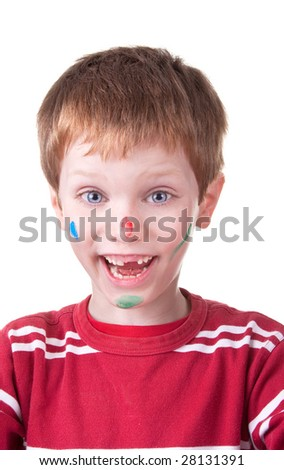 Portrait of a cute young boy with painted face, isolated on white background. Studio shot.