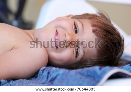 Portrait of a cute young child smile happily outdoor