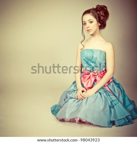 Portrait of a cute young  girl dressed as a princess