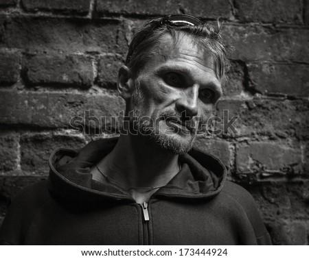 Portrait of a dark male. - stock photo