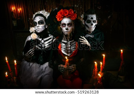 Portrait of a dead love triangle (infidelity concept).