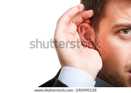 Portrait of a deaf businessman - stock photo