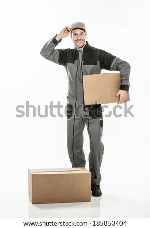 Portrait of a delivery man on isolated background - stock photo