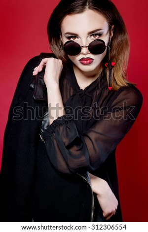 Portrait of a devil woman. Halloween. - stock photo