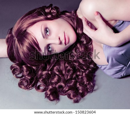 portrait of a diva with red hair - stock photo