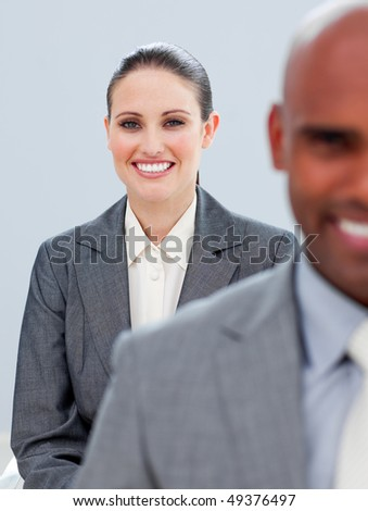 Portrait of a diverse business people in a company - stock photo