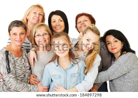 Portrait of a diversity Mixed Age and Multi-generation Family embracing and standing together. Isolated on white background. - stock photo