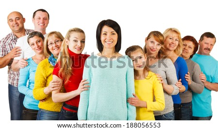 Portrait of a diversity Mixed Age and Multi-generation Family embracing and standing together. Isolated on white background.