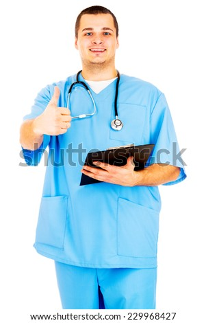 Portrait of a doctor gesturing ok sign on white background