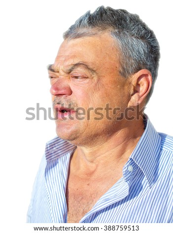 Portrait of a drunk man on a white background
