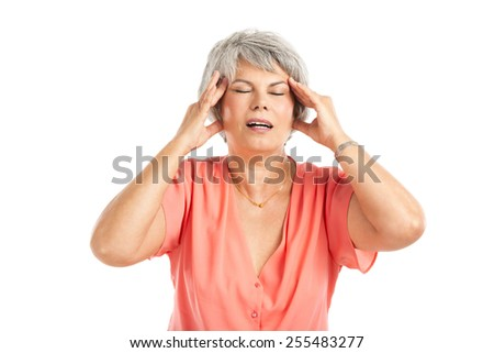 Portrait of a elderly woman with a headache, isolated on a white background
