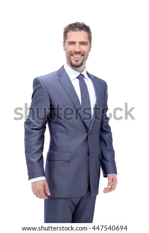 Portrait of a elegant handsome business man on white background