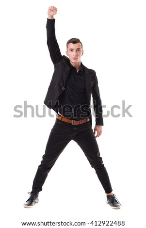Portrait of a energetic young business man enjoying success, isolated against white - stock photo