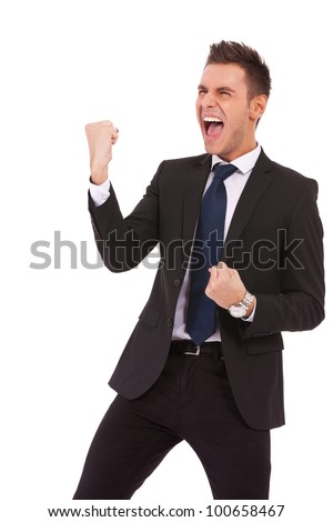 Portrait of a energetic young business man enjoying success, screaming against white - Isolated