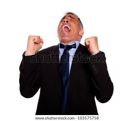 Portrait of a excited man screaming and celebrating a victory on isolated background - stock photo