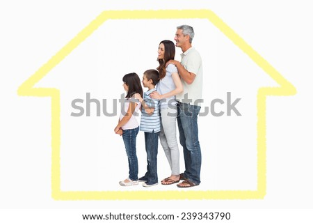 Portrait of a family in single file against house outline - stock photo