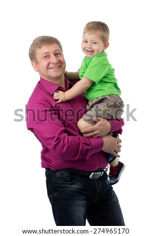 Portrait of a father and three year old son in the studio. Isolate on white.