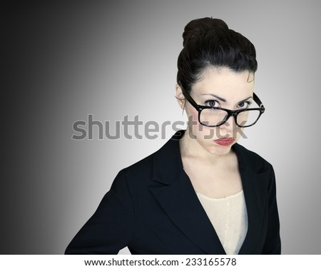 Portrait of a fed up employee woman isolated on background. - stock photo